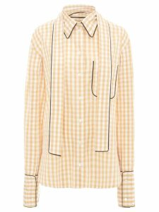 JW Anderson scarf collar gingham shirt - Brown