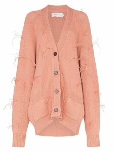 Marques'Almeida feather embellished cotton cardigan - PINK
