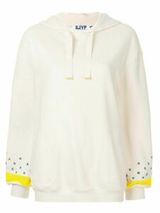 SJYP embroidered sleeve hoodie - White
