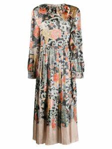 Valentino oriental print satin dress - Neutrals