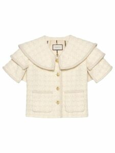 Gucci Houndstooth tweed cape jacket - White