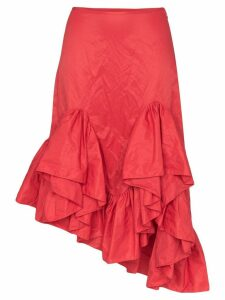 Marques'Almeida ruffled asymmetric midi skirt - Red