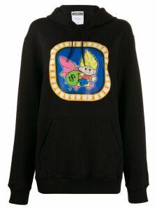 Moschino graphic print hooded sweater - Black