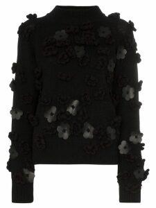 PASKAL 3D flower knitted sweater - Black