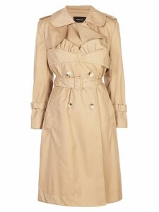 Simone Rocha frill detailed belted trench - NEUTRALS