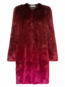 Mary Katrantzou Thalia ombre faux fur coat - Red