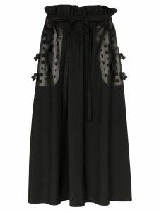 PASKAL floral laser-cut midi skirt - Black