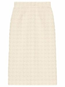 Gucci Houndstooth tweed skirt - White