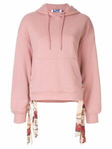 SJYP scarf detailed hoodie - Pink
