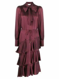 Zimmermann asymmetric ruffled dress - Red