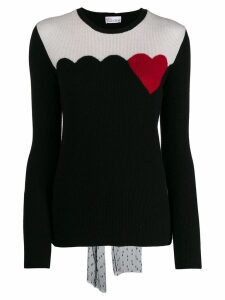 Red Valentino knitted heart detailed sweater - Black