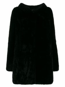 Yves Salomon hooded fur coat - Black