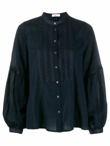 Closed embroidered front blouse - Blue