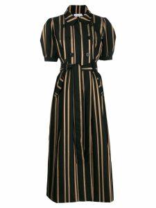 Self-Portrait tailored striped dress - Black