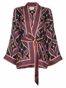 Gucci tie-waist kimono-style jacket - Blue