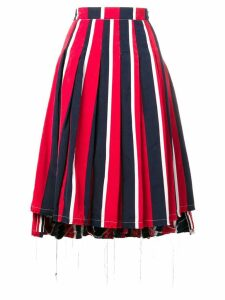 Thom Browne Wide Repp RWB Stripe Pleated Skirt - Blue