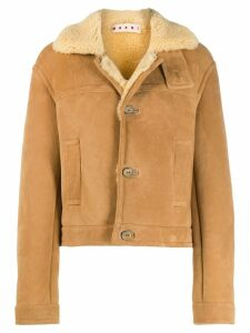 Marni shearling button-up short coat - Neutrals