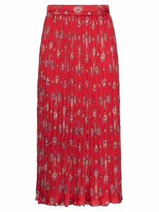 Johanna Ortiz Biblioteca natural shell print midi skirt - Red