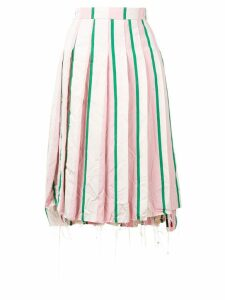 Thom Browne Wide Repp Stripe Pleated Skirt - White