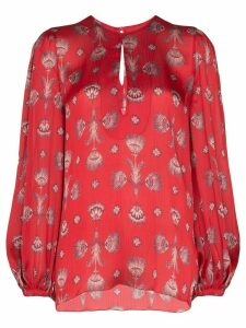 Johanna Ortiz living coral shell print blouse - Red
