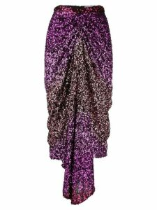 Halpern sequin-embellished draped midi skirt - Pink