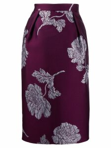 Alexander McQueen floral jacquard pencil skirt - Purple