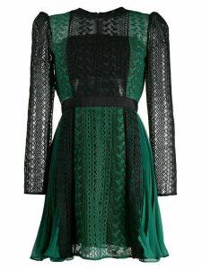 Self-Portrait embroidered empire line dress - Black
