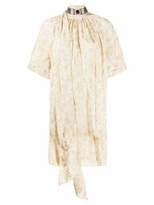 Chloé embellished neck short dress - Neutrals