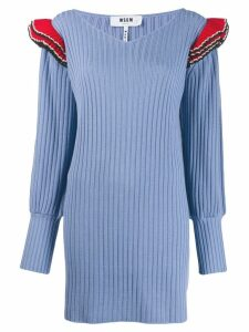 MSGM ruffled shoulders knitted dress - Blue
