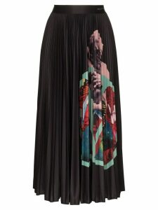 Valentino Lover print pleated midi skirt - Black