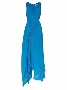 Preen By Thornton Bregazzi Kimberly V-neck plissé maxi-dress - Blue