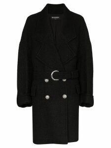 Balmain double-breasted cocoon coat - Black