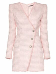 Balmain asymmetric-button tweed blazer dress - Pink