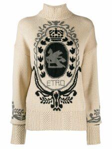 Etro intarsia logo sweater - Neutrals