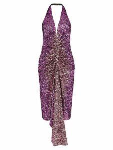 Halpern halterneck sequin-embellished dress - Purple