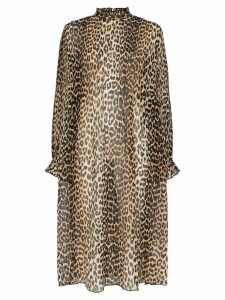 Ganni leopard print midi dress - Black