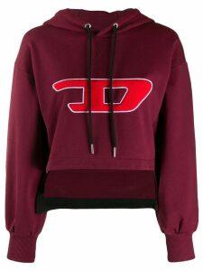 Diesel cropped logo hoodie - Red