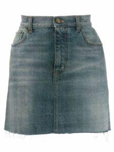 Saint Laurent distressed denim mini skirt - Blue
