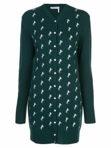 Chloé horse embroidered knit cardigan dress - Green
