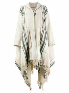 Woolrich striped cape coat - Neutrals