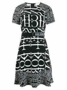 Michael Michael Kors logo print flared dress - Black