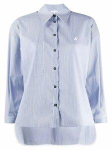 Patrizia Pepe striped logo embroidered shirt - Blue