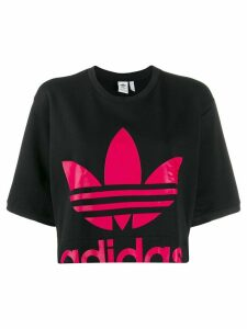 Adidas logo print cropped T-shirt - Black