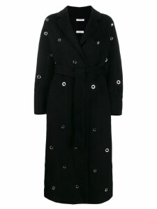 P.A.R.O.S.H. eyelet embellished robe coat - Black