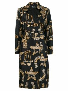 Versace Collection logo print trench coat - Black