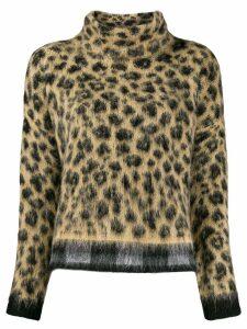 Liu Jo loose-fit leopard jumper - Neutrals