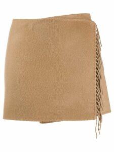 P.A.R.O.S.H. fringe mini skirt - Brown