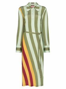 JW Anderson twisted-stripe polo dress - Green