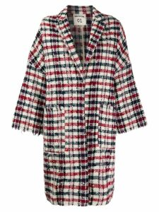 Semicouture checked oversized coat - Red