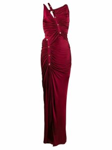 Versace ruched strappy detailed gown - Red